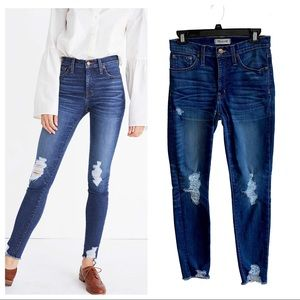 """Madewell 9"""" high rise skinny deconstructed jeans"""